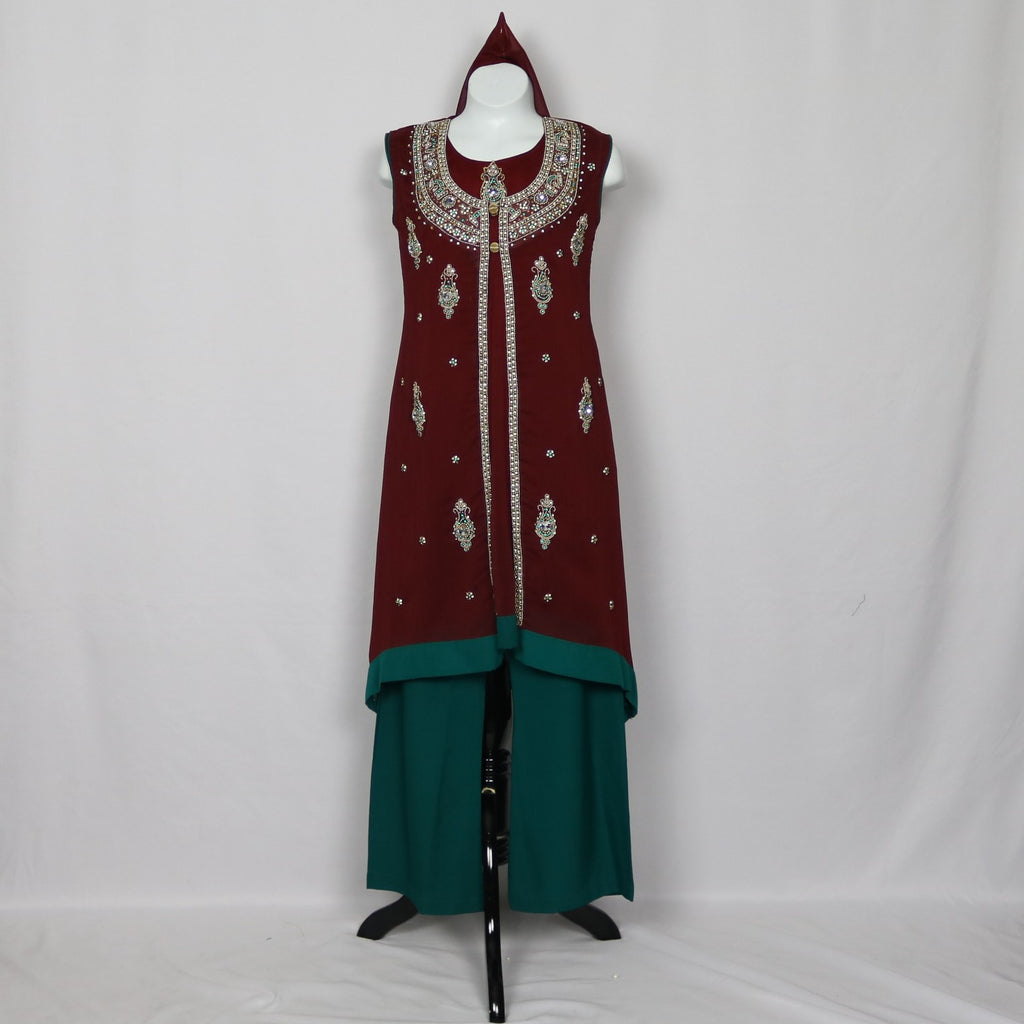 Burgundy & Teal Jacket Style Gown