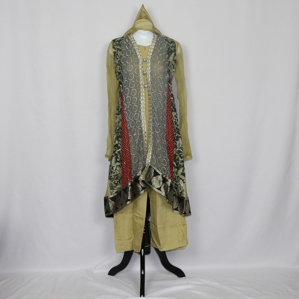 Pale Yellow & Gray Shalwar Kameez