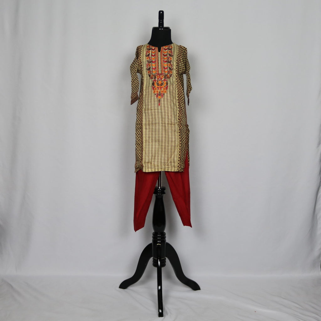 Cream & Brown Shalwar Kameez