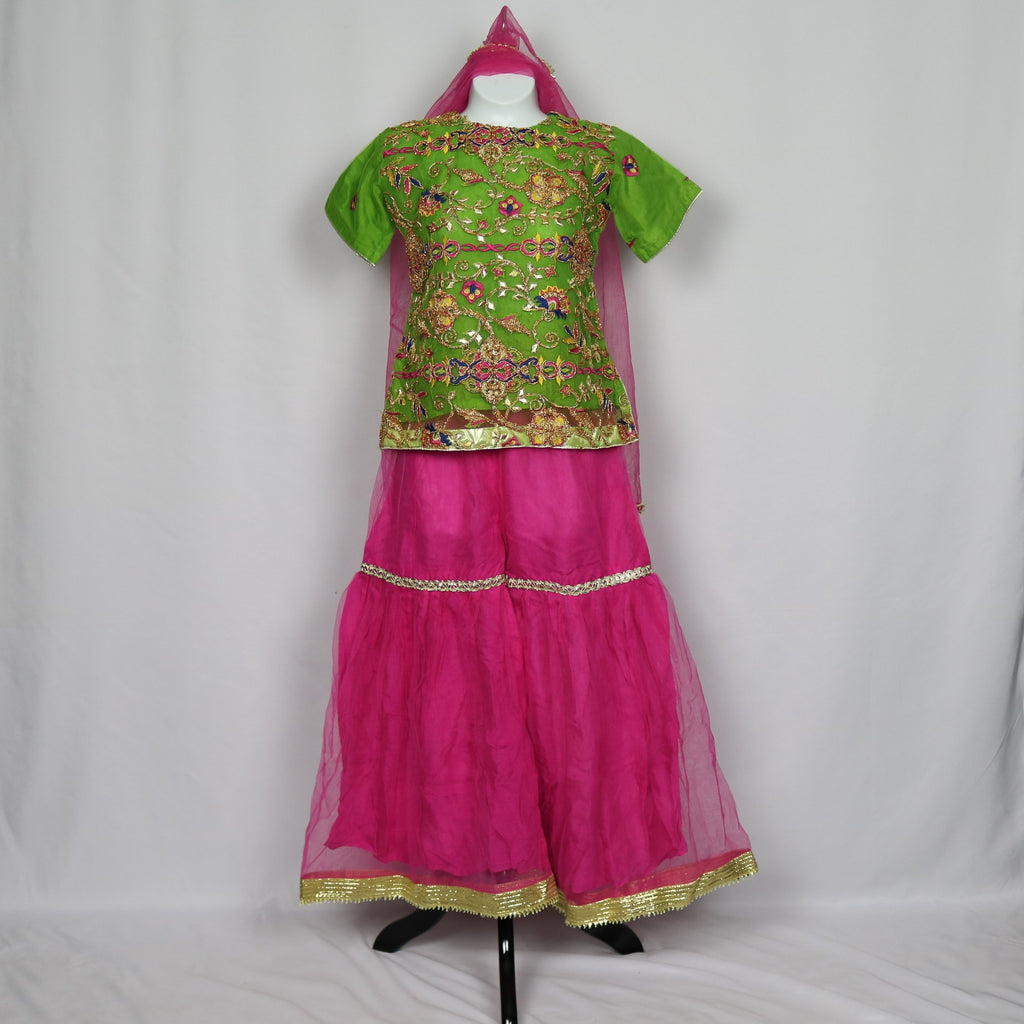 Green & Hot Pink Gharara