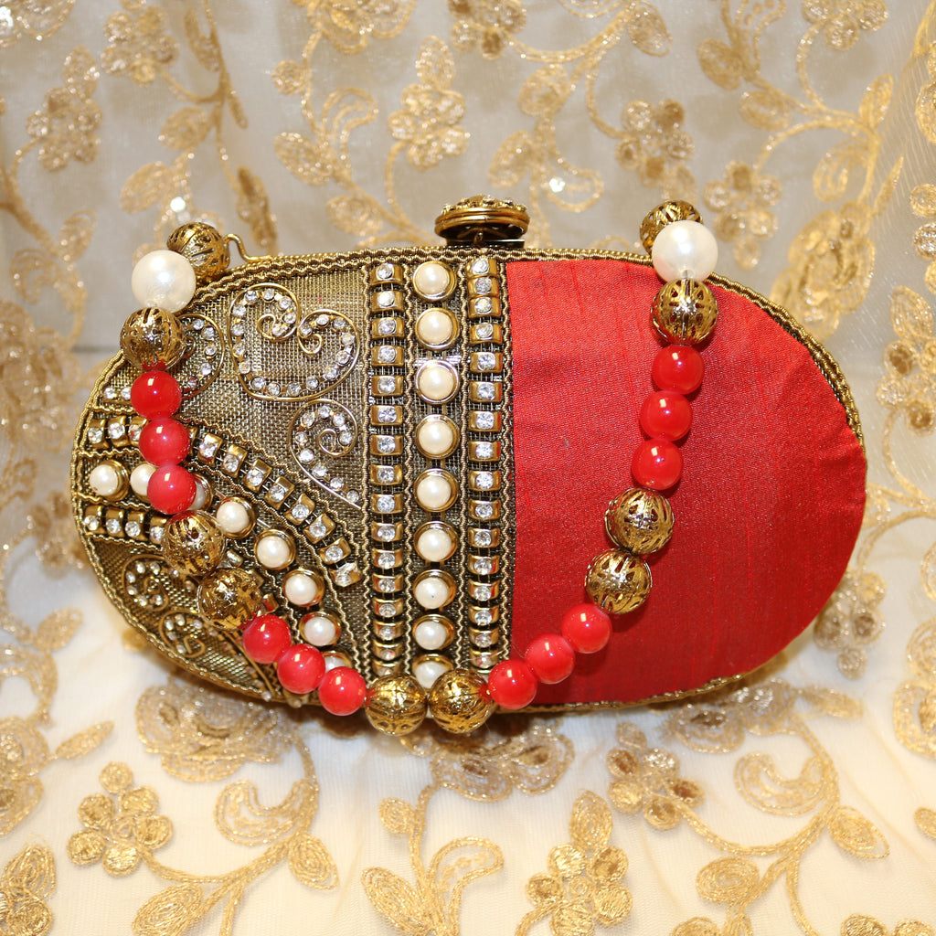 Almas Pearl Beaded Clutch