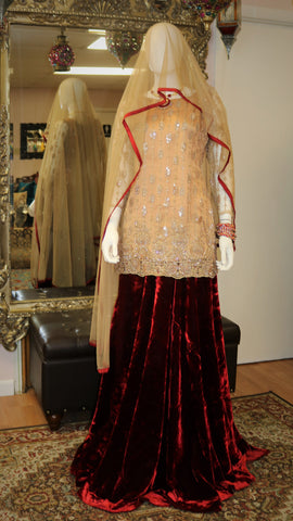 Golden Red Lengha
