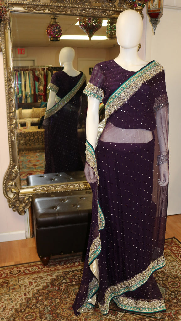 Plum Purple & Teal Sari