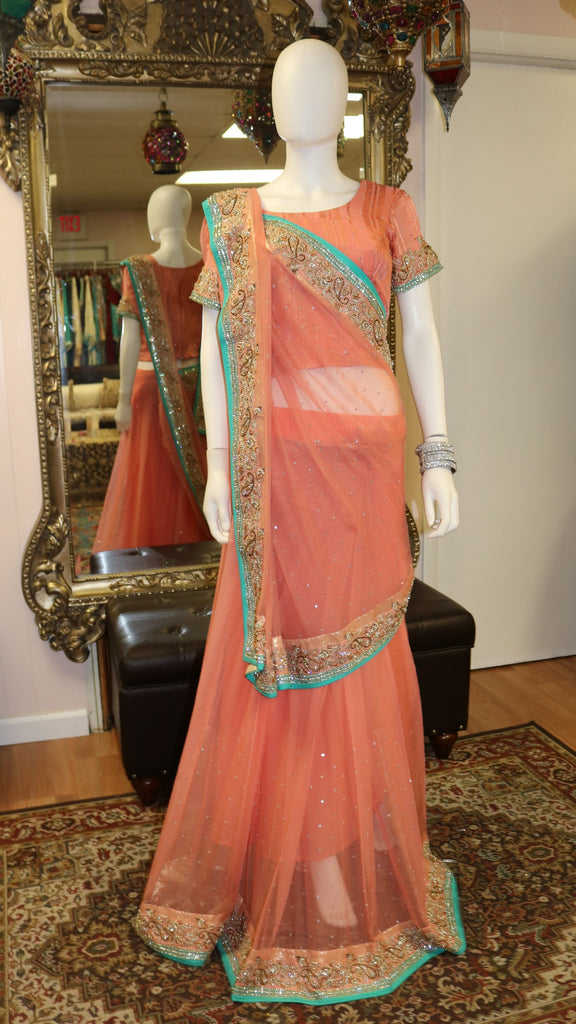 Peachy Teal Sari