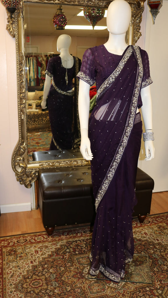 Plum Purple & Silver Sari