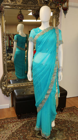 Golden Teal Sari