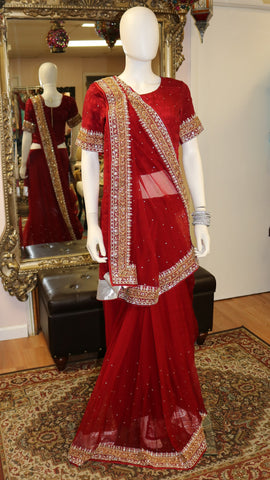 Golden Red Sari