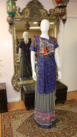 Black & White Patterned Sari