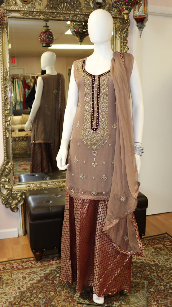 Blush Pink Jamawar Sharara
