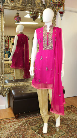 Hot Pink & Gold Shalwar Kameez