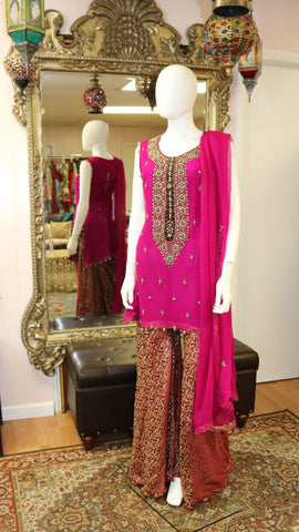 Hot Pink Jamawar Sharara