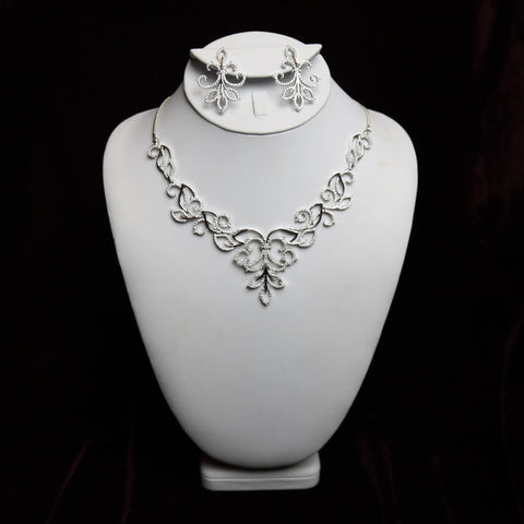 Flower Style in Sterling Steel Necklace Set