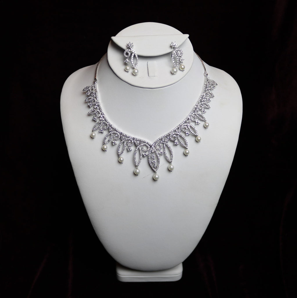 Silver Steel & Pearl Riviera Necklace Set