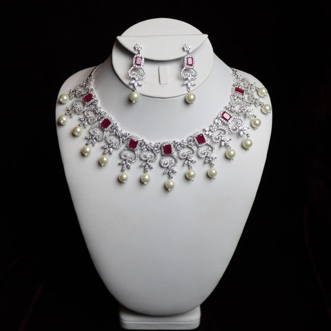 Red Stoned Zirconia Cut With Pearl Pendants Bridal Necklace Set