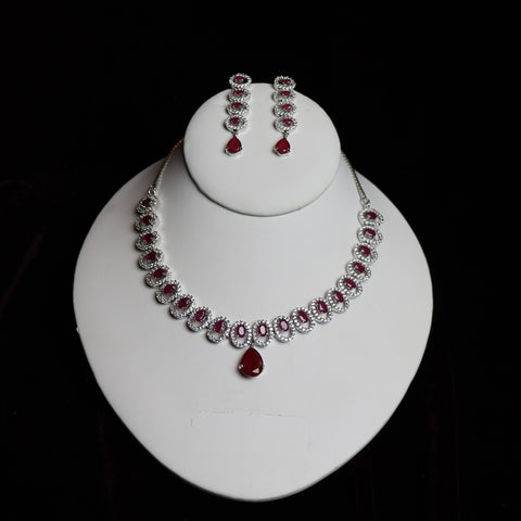 Silver Steel & Red Stone Riviera Necklace Set