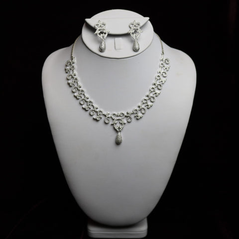 Silver Steel Scroll Style Riviera Necklace Set