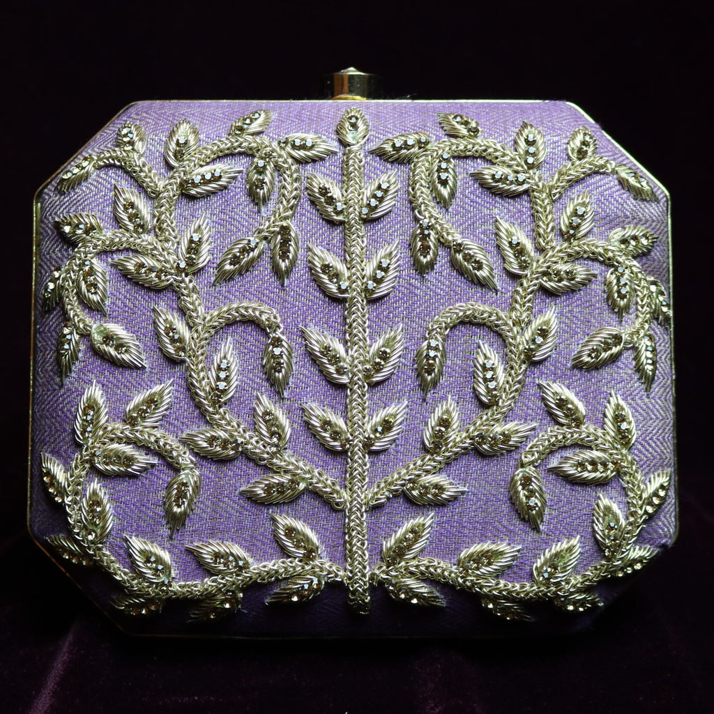 Purple Diamond Cut Style Stoned Clutch