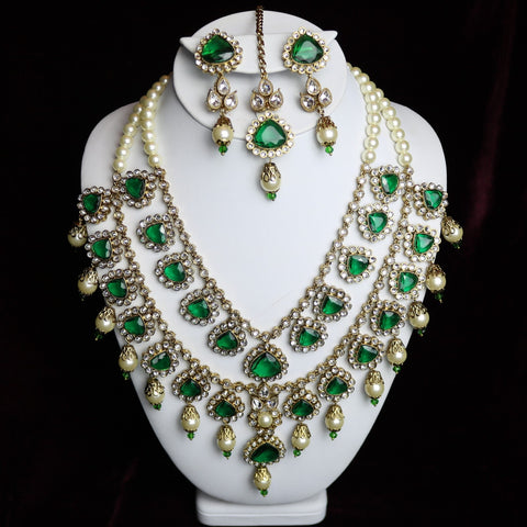 Green Stoned Kundan Bridal Necklace Set