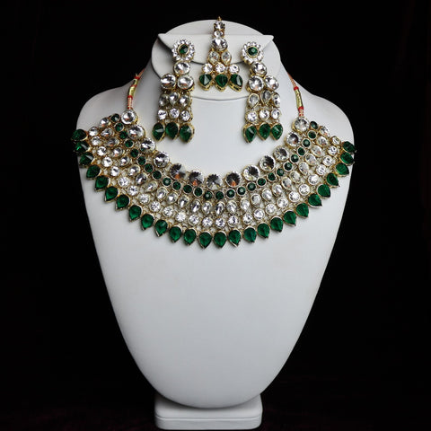 Green Stoned Kundan Choker Set
