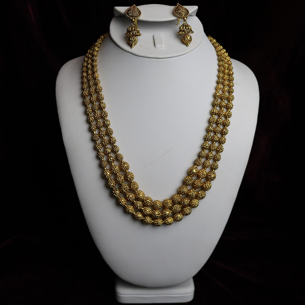 Gold Plated Mala Necklace Set
