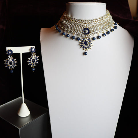 Gold Plated Zirconia Cut With Blue Stoned & Pearl Pendants Choker Necklace Set