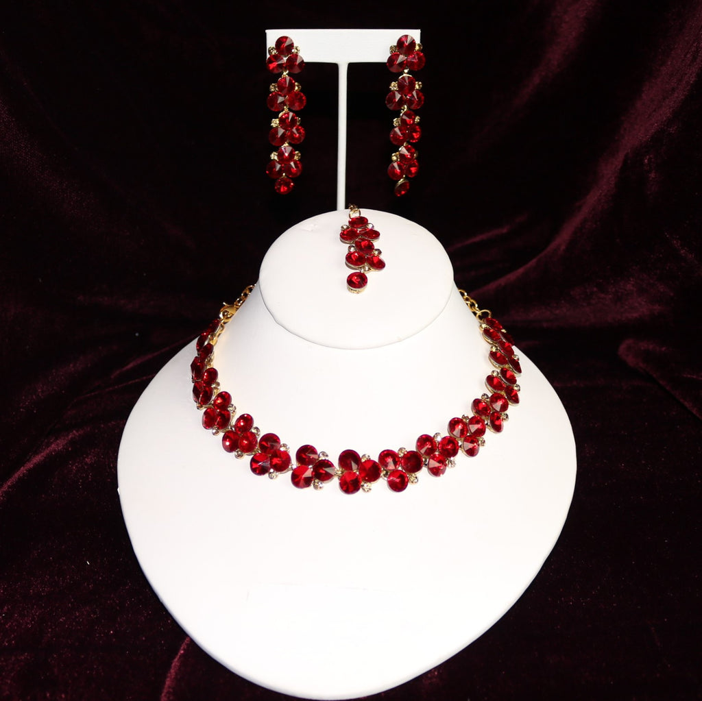 Red Stoned Choker Necklace Set