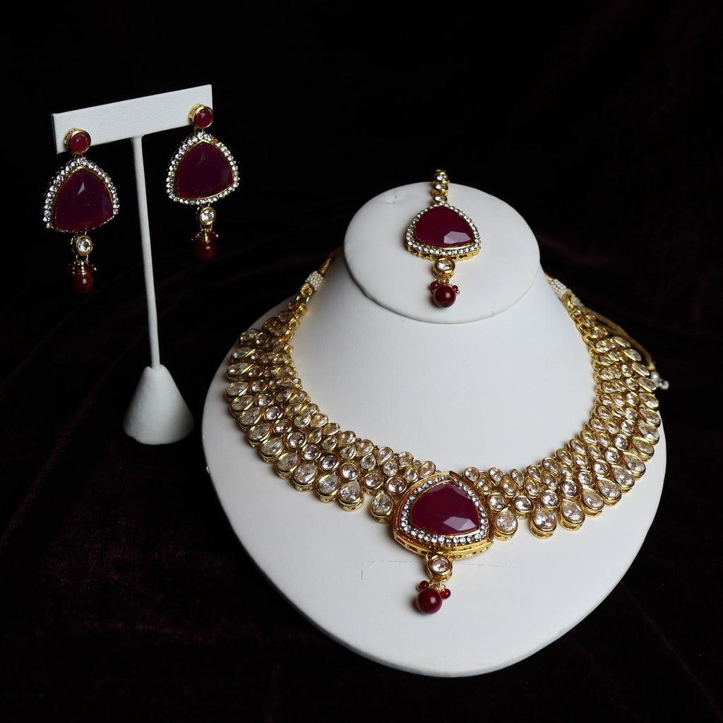 Red Stoned Kundan Riviera Necklace Set