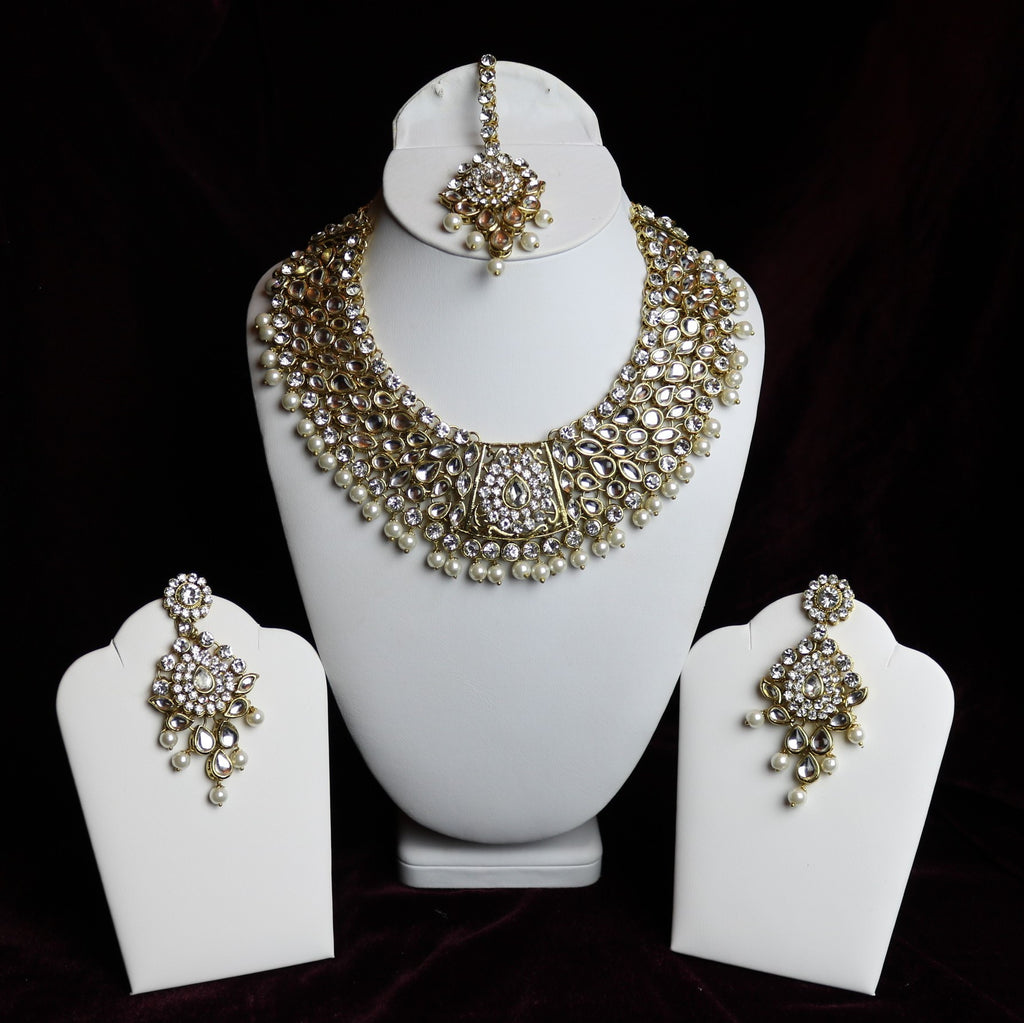 Golden Kundan With Pearls and White Stone Riviera Necklace Set