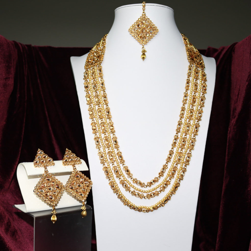 Stoned Golden Mala Bridal Set