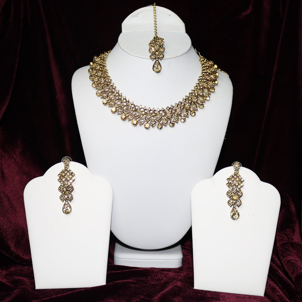 Golden Stoned Riviera Necklace Set