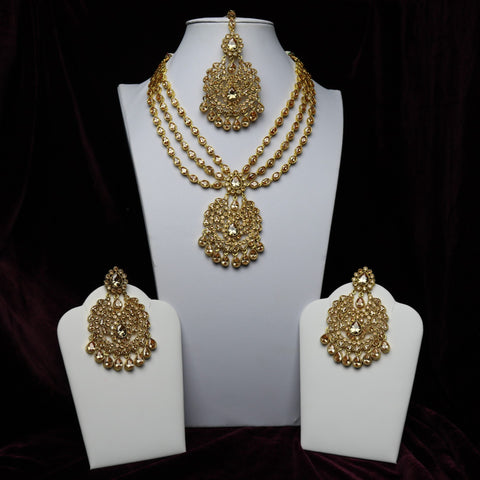 Golden Stoned Pendant Necklace Set