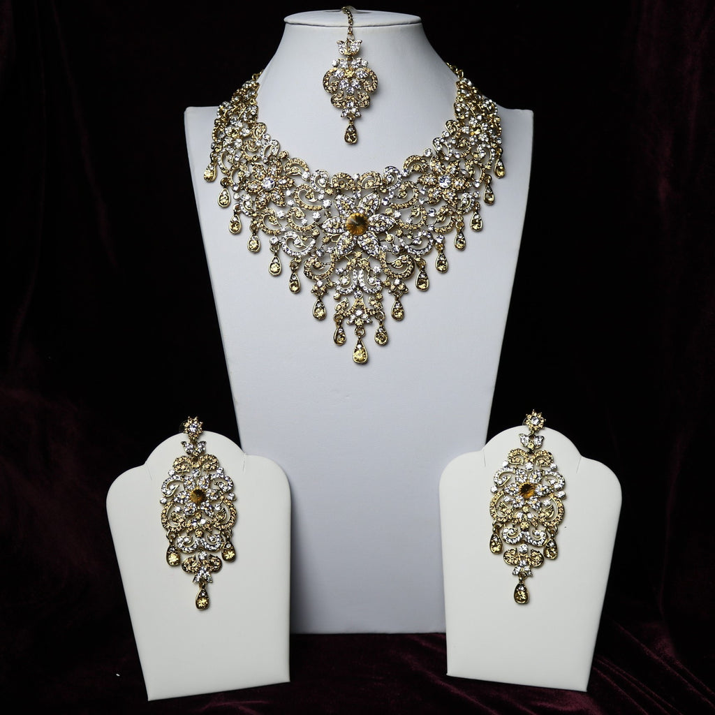 Golden & Silver Stoned Riviera Necklace Set