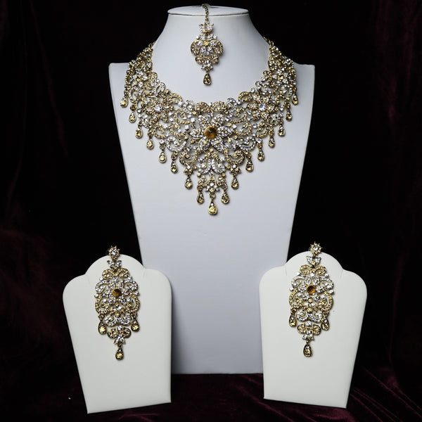 d383750fb0cef Golden & Silver Stoned Riviera Necklace Set