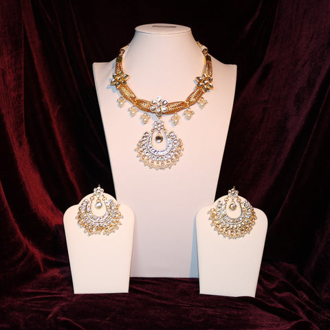 Kundan & White Stoned Pendant Set