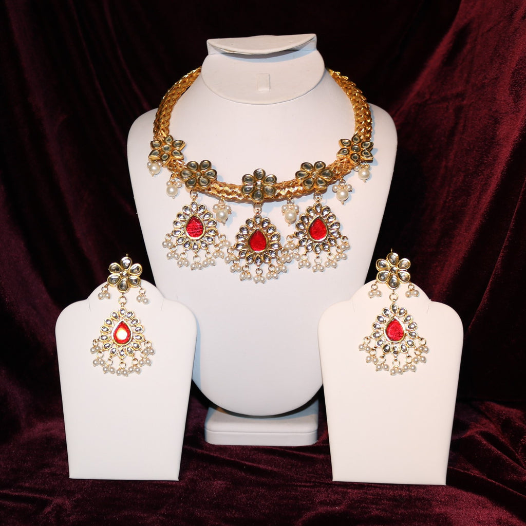 Kundan & Red Stoned Pendant Set
