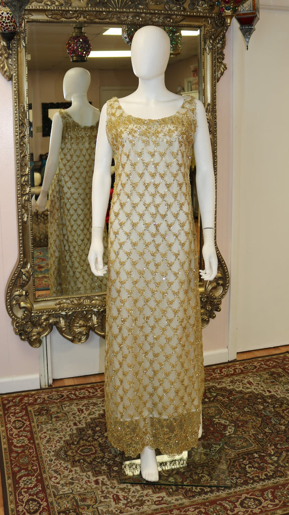 White & Golden Overlay Gown