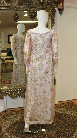 Pink Net With Golden Embroidery Gown