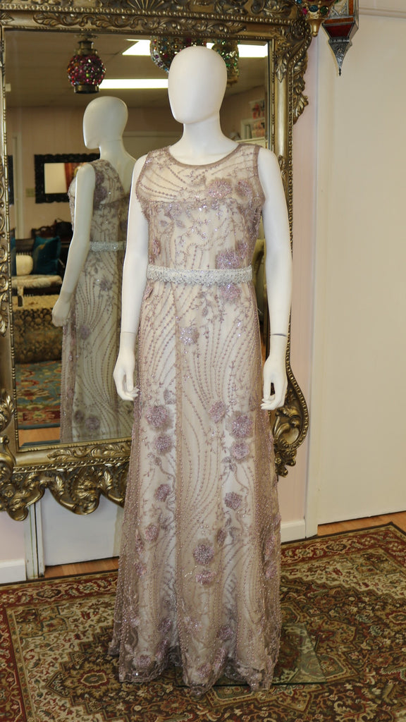 Purple Net & Embroidery Long Gown Dress