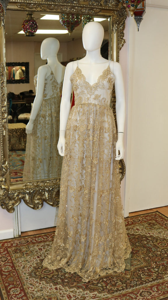 Golden Embroidery Lace Overlay Gown
