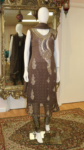 Dabka With Stone Brown Salwar Kameez