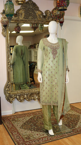 Emerald Green With Moti Dabka Salwar Kameez