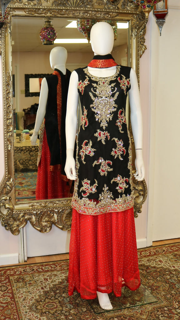 Black Gota Short Shirt Lengha