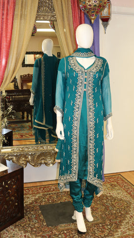 Forest Green Jacket Salwar Kameez