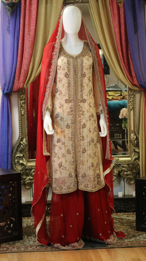 Floral Pearl and Stone Jacket Style Lengha