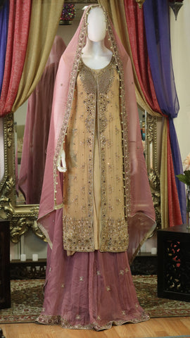 Bronzy Gold and Pink Jacket Style Lengha