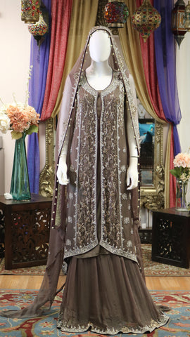 Cedar Brown Jacket Style Lengha with Dabka, Stone, & Zari Work