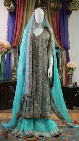 Ferozi and Grey Dabka Jacket Style Lengha