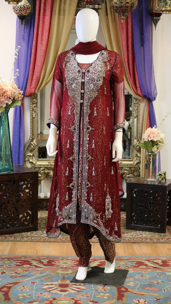 Burgundy Red Jamawar Jacket Style with Silver Zari Work