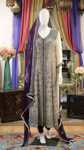 Nude Cream & Purple Zari Work Maxi Dress