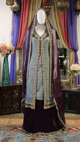 Grey Blue and Deep Purple Golden Zari Jacket Style